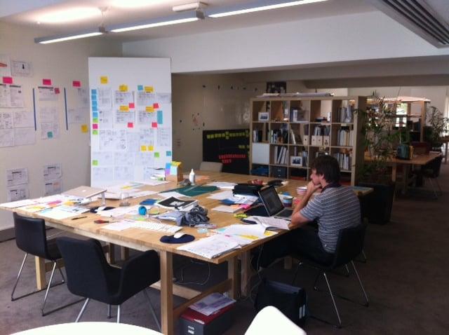 Worktable, bookshelf and furniture in Meld Studios design studio