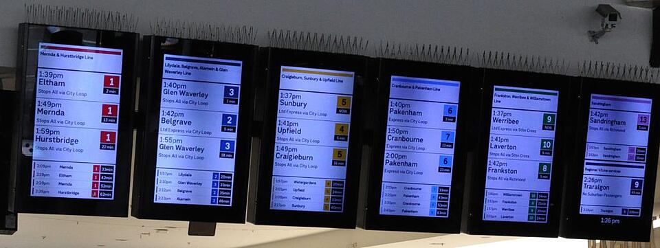 New digital displays at Flinders Street Station, showing colour coded lines.
