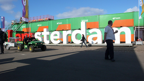 Outside scene from Picnic festival with large type saying Amsterdam