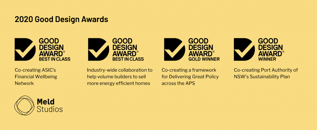 Four Meld projects recognised for genuine, impactful co-creation at 2020 Good Design Awards